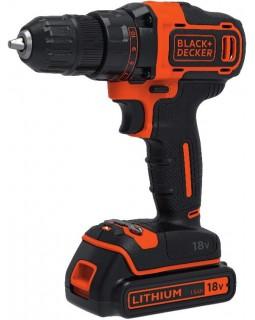 Шуруповерт-дрель аккумуляторный BLACK+DECKER BDCDD186KB-QW, (в кейсе + 2 аккумулятора)
