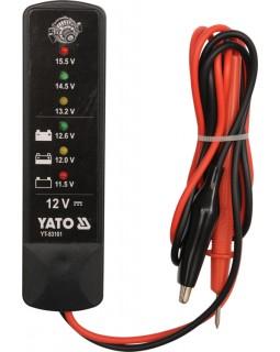 Тестер напряжения аккумуляторов и генераторов YATO YT-83101