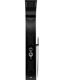 Душевая панель FALA STEELY 3 BLACK TITANIUM, 4 функции 140 х 20 х 7 см, шланг 150 см, из нержавеющей стали.