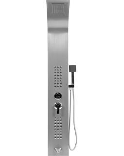 Душевая панель FALA STEELY 1 INOX, 4 функции 140 х 20 х 7 см, шланг 150 см, из нержавеющей стали.